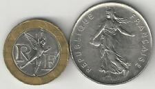 2 DIFFERENT COINS from FRANCE - 5 FRANC & BI-METAL 10 FRANC (BOTH DATING 1990)