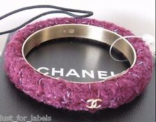 CHANEL 3 Gold CC Logos Tweed Bangle Cuff Bracelet Size Medium NWT