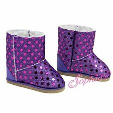"Purple Sequin Ewe Boots with Lining Doll Clothes Fits 18"" American Girl"