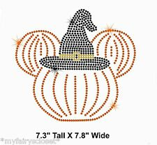 "7.8"" Minnie Pumpkin witch hat iron on rhinestone Halloween transfer patch"