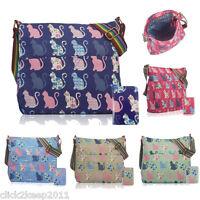 Ladies Girls Cat Floral Canvas Shoulder Bag Cross Body Bag Messenger School Bag