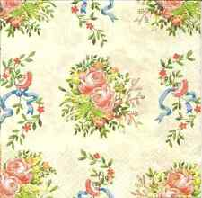 4 Single Paper Napkins for Decoupage Charlett Little Roses  Bouquets Vintage