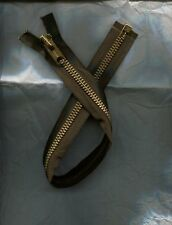 19 1/2 inch Dark Brown & Brass #10 Heavy Duty Separating Talon Zipper Vintage