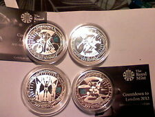 full set collection of 2009,2010,2011,2012 countdown silver proof £5 coins