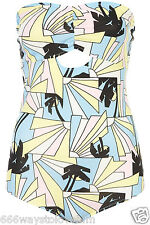 Topshop Palm Tree Strapless Body 12 40 Tropical Exotic Summer Pastel Blue New