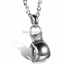 Silver Tone Boxing Pugilism Hand Glove Pendant Necklace for Men Chain Included