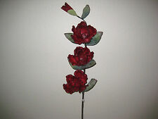 "2 Sprays RED Magnolia Latex Coated Artificial Flowers 24"" Stem  3-715RD"