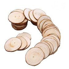 60pcs 6-7cm  Wooden Slices Circles  with Tree Bark Log Discs  wooden pieces