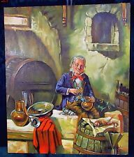 VTG Original Oil Hand Painting on Canvas Sicilian Wine Maker Signed Vito Colucci