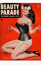 Pin Up Girl Poster 11x17 Beauty Parade magazine cover art sexy brunette corset