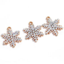 50pcs Gold Plated Powder Glitter Snowflakes Charms Alloy Christmas Pendants C