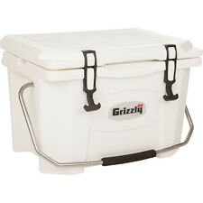 Grizzly 20 Qt Heavy Duty Ice Retention Cooler White Fishing Camping Boating USA