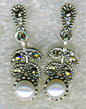 925 Sterling Silver White Mother of Pearl & Marcasite Long Drop Earrings L3/4""