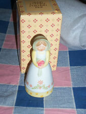 """Avon Country Porcelain Bell  About 3 1/8"""" High Old Fashioned Girl Holding Flower"""