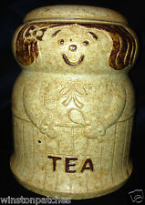 """CRAFT POTTERY USE TEA CANISTER 6 5/8"""" WOMAN ON EXTERIOR LIGHT BROWN"""