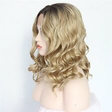 Hot Women Synthetic Wigs Blonde Gradient Highlights Wavy Full wigs Cosplay hair
