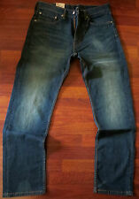 Levi's 505 Straight Leg Jeans Men's Size 36 X 36 Vintage Distressed Dark Wash