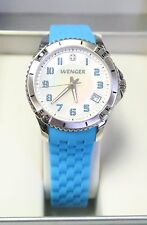 Wenger Swiss Watch Squadron 36mm MOP Dial Blue Silicone Strap 0121.102 NEW 32025