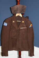 "Scarce Late WW2 U.S. Army ""Brown"" Double Patched Ike Jacket w/Two Overseas Hats"