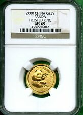 CHINA  PANDA  2000  NGC  MS 69  1/4  OZ GOLD     25 YUAN