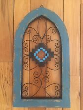 Rustic Southwest Scrolled Metal Wall Art Cathedral Style Turquoise Arch Wall Art