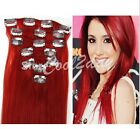 "15-24"" 70g 7 pcs set 100% Full Head Clip In Remy Real Human Hair Extensions Red"