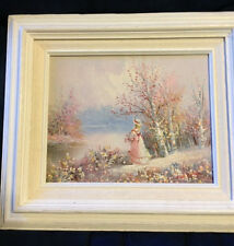 Nice Framed Victorian Woman with Flowers Oil Painting