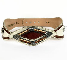 Streets Ahead Santa Monica CA Adorned White Brown Snap Buttons Leather Belt M