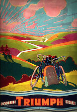 Vintage triumph cycles affiche publicitaire rétro style ancien home decor wall art