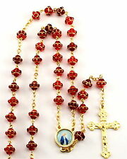 """NEW LOVELY MADE IN ITALY RUBY RED & GOLD """"MEDIEVAL"""" GLASS BEAD ROSARY"""