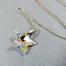 925 Sterling Silver Necklace Swarovski Element Crystal Star Pendant Clear AB New