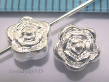 4 x STERLING SILVER BRIGHT ROSE FLOWER SPACER BEADS (#637)
