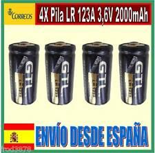 4X PILA RECARGABLE 16340 CR123A LR123A 2000mAh Li-ion 3,6V 3,7V Litio Batería