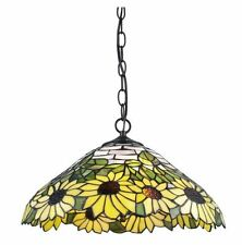 "Tiffany Style Sunflower Yellow Hanging Lamp Stained Glass 18"" Shade  NEW"