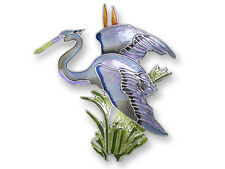 Zarah Zarlite Great Blue HERON PIN Silver Plated Enamel Brooch Shore Bird  Boxed