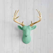 Wall Charmers Mint Mini Deer + Gold Antler Faux Head Metallic Green Fake Animal