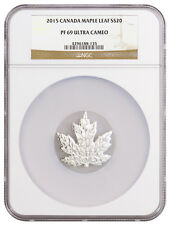 2015 Canada $20 1 Troy Oz Proof Silver Maple Leaf Shape NGC PF69 UC SKU37313