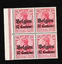 Germany WWI Belgium Occupation 10 Cent. Germania Block of 4 with Selvage MNH* E