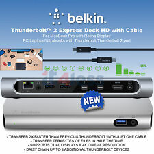 Belkin Universal Thunderbolt 2 Express Dock HD 8 Ports mit 1m Kabel F4U085vf UK