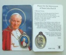 POPE JOHN PAUL LAMINATED CARD WITH COLOUR MEDAL STATUES CANDLES PICTURES LISTED