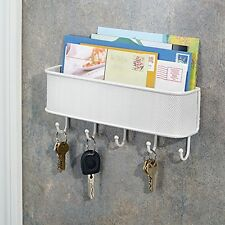 Mail Key Rack Hanger Letter Holder Hook Wall Mount Storage Organizer White