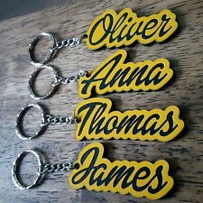 Personalised YELLOW BLACK KEYRING KEYCHAIN GIFT ANY NAME SCHOOL BAG TAG WORD