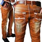 JEANS HERREN Designer Hose Cargo Style dicke Naht Nähte Braun Wüste Clubwear NEU