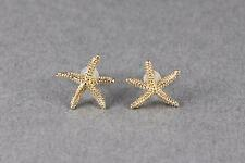 "Gold tone Starfish Sea Life Star Fish post stud textured earrings 9/16"" wide"