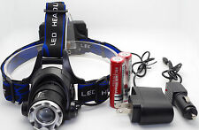 2000Lm New CREE XM-L XML T6 LED Headlamp Headlight 2X18650 battery + Car Charger