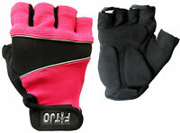 HOT PINK GEL PADDED CYCLING / CYCLE / BICYCLE / WHEELCHAIR / MTB BIKE GLOVES