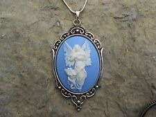 GUARDIAN ANGEL WITH BEAUTIFUL WINGS CAMEO NECKLACE - QUALITY - CHRISTMAS!