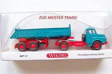 HO scale Wiking 1959 MAN Day Cab with Rear End Dump Trailer  :1/87 Model Truck