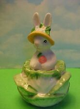 Ceramic Easter Rabbit in bonnet sitting in a cabbage Salt Shakers Fitz & Floyd?
