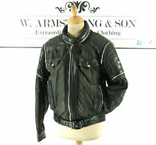 Men's Black HEIN GERICKE Cotton GENUINE LEATHER Biker Motorcycle Pro Jacket UK M